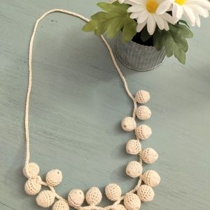 Jewelry - Cream Knitted Statement Necklace